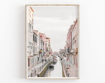 Digital Download for Print Large Poster Watercolor Italy Graphics on old paper Morning Venice wall decor.