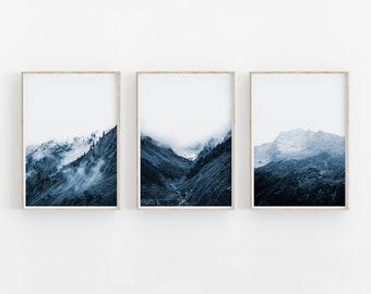 Indigo Mountain Print Set of 3, Nature Print, Printable Art, INSTANT DOWNLOAD, Modern Minimalist Poster, Printable Wall Decor