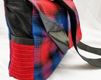 Reversible One Of A Kind Wool Plaid and Faux Leather Messenger Bag
