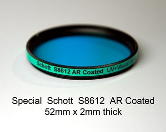 Schott S8612 AR Coated 52mm x 2mm (+ other sizes) Infrared-Cut, UV+Visual Band, IR Suppression