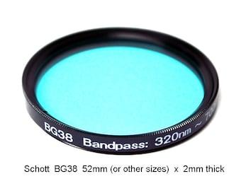 "Schott BG38 52mm (+ other sizes) x 2mm thick UV/IR-Cut Filter Visual Bandpass IR Suppress ""Hot Mirror"""