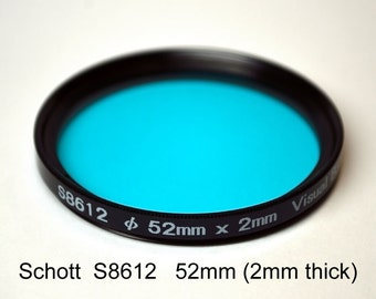 Schott S8612 52mm (+ other sizes) x 2mm thick IR Cut Filter, UV + Visual Bandpass IR Suppress