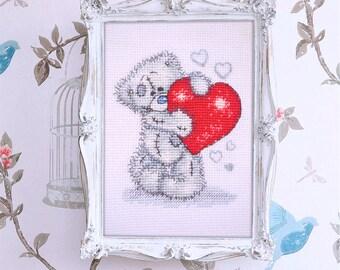 punto croce quadro a mano Teddy bear scheda da ricamo Teddy Valentino completato senza cornice