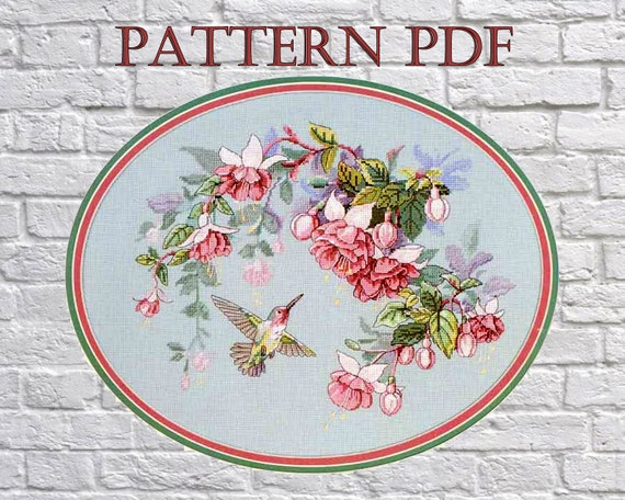 Counted Cross Stitch Patterns Color Symbols Charts Hummingbird Bouquet 1