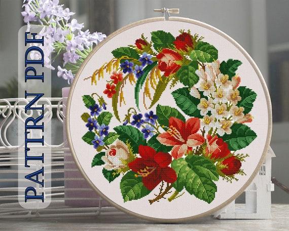 Cross Stitch Pattern flowers, cross stitch flower wreath, garden flowers,  garden bouquet, wild flowers, vintage embroidery