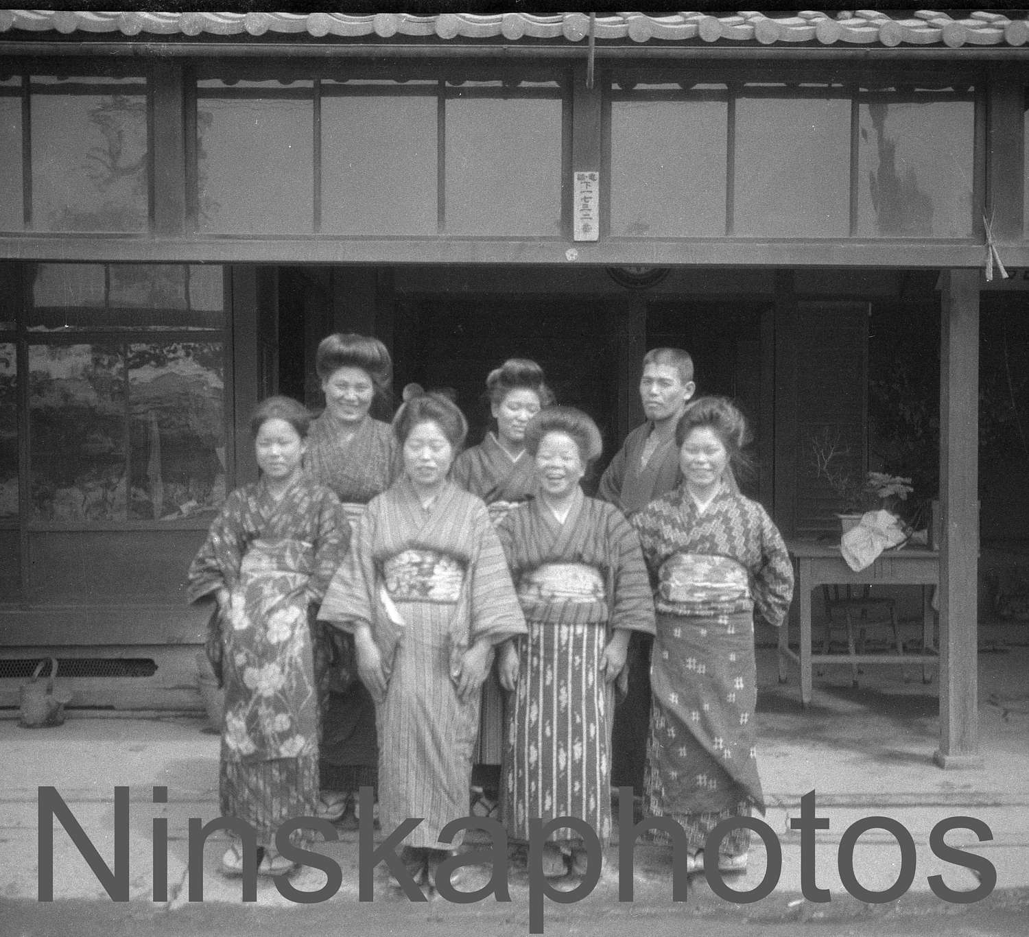1920s Kyoto Staff At The Inn Japan Black White Photography