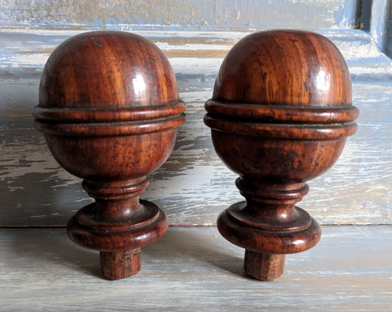 Pair Antique French Wood Finials Furniture Embellishments Etsy