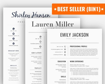 Resume template word | Etsy