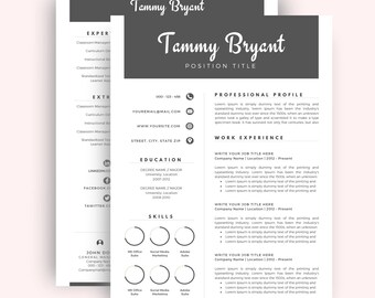 Professional Resume Template Cv Template For Word Two Page Etsy
