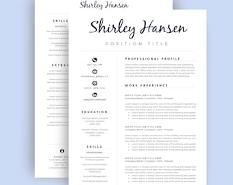 resume template cv template for word cover letter two page etsy