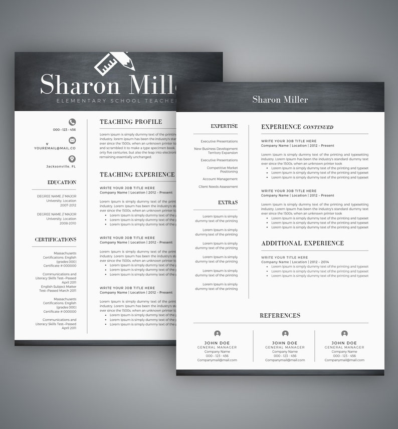 teacher resume template  cv template for word two page  etsy