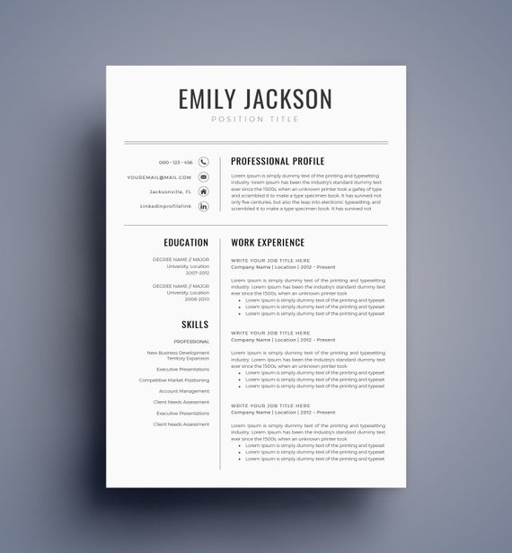Resume Template / CV Template For MS Word BEST Selling