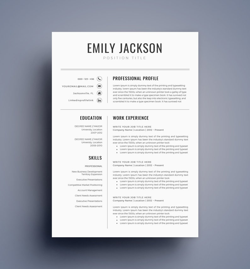 resume template cv template for ms word best selling etsy. Black Bedroom Furniture Sets. Home Design Ideas