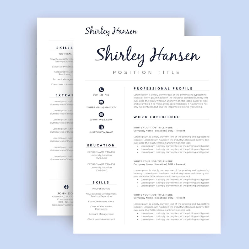 Professional Resume Template CV Cover Letter