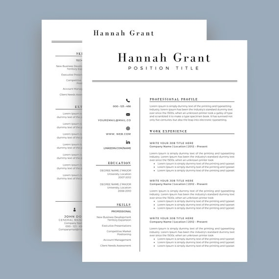Resume Template / CV Template + Cover Letter for MS Word   Professional and  Creative Resume Design   Teacher Resume   Instant Download