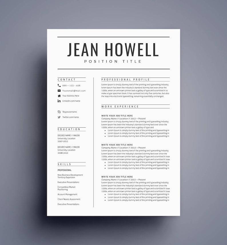 Modern Resume Template CV Template For Word Cover Letter Etsy