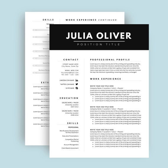 two page cv template