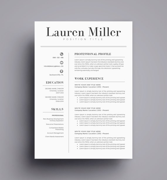 Resume Format Page 2: Resume Template / CV Template For Word Cover Letter Two