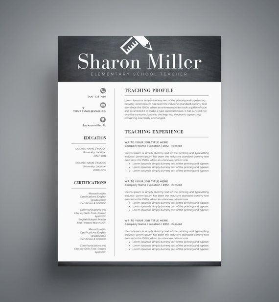 Teacher Resume Template Cv Template For Word Two Page Resume Cover Letter Professional Resume Creative Resume Instant Download