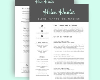 Resume Template / CV Template for Word, Two Page Resume, Cover Letter, Professional Resume, Creative Resume, Teacher, INSTANT DOWNLOAD