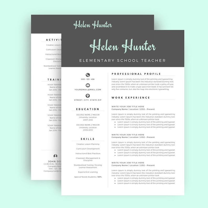 Professional Resume Resume Template  CV Template for Word Two Page Resume Creative Resume Teacher INSTANT DOWNLOAD Cover Letter