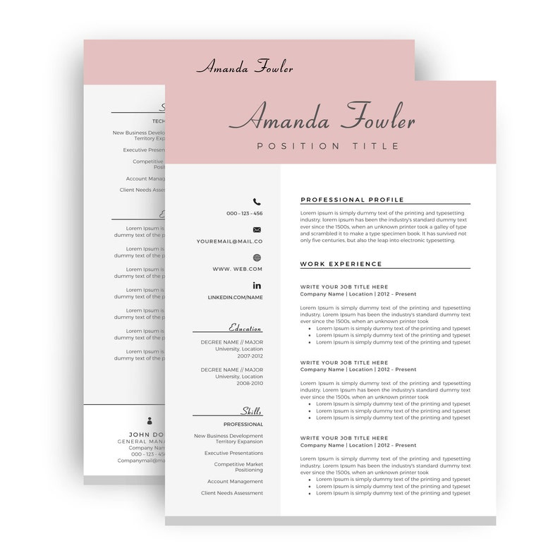 Resume Template Word Cv Template Two Page Resume Cover Etsy