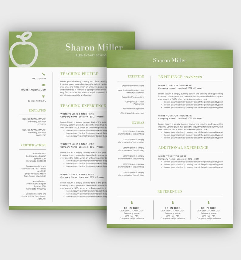 Two Page Resume Cover Letter INSTANT DOWNLOAD Educator Resume Creative and Modern Resume Teacher Resume Template  CV Template for Word