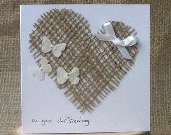 Handmade Christening Card, Butterfly Christening Card, Blank Christening Card, 'On Your Christening' Card