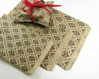 Damask Paper Bags 5 x 7 inch, French Print, 25, 50, 100, Black Kraft Treat Bags, Shower Favors, Party Favors, Gift Wrap Bags, Party Ideas