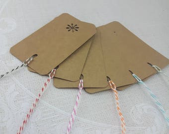 Kraft Tags with Twine , Rustic Gift Tags, Winter Tags, Natural Tags with Bakers Twine, Set 10, 2 x 4 inch,  Tags, Holiday Gift Wrap