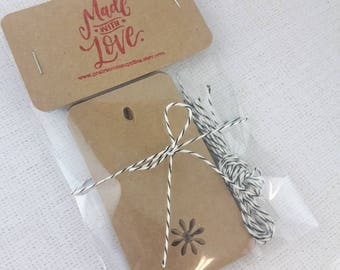 Kraft Tags, Rustic Gift Tags, Winter Tags, Natural Tags with Bakers Twine, Set 10, 2 x 4 inch,  Tags, Blank Tags, Holiday Gift Wrap