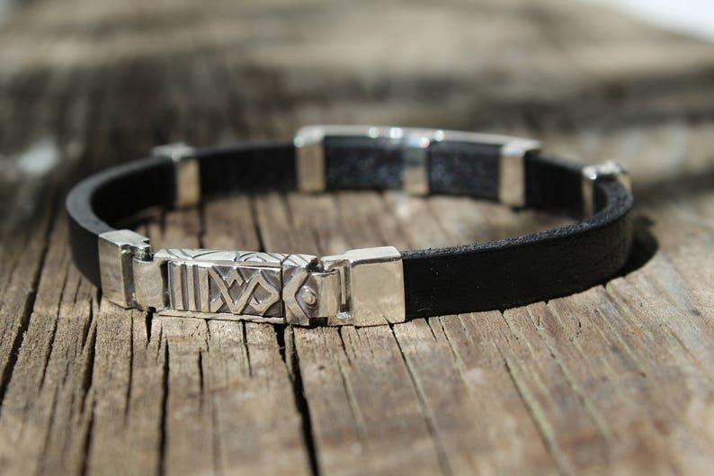 Sterling silver 925 bracelet with black leather band,Engraved bracelet,Silver bracelet elements,Men/'s leather bracelet,Hipster,Gift for him