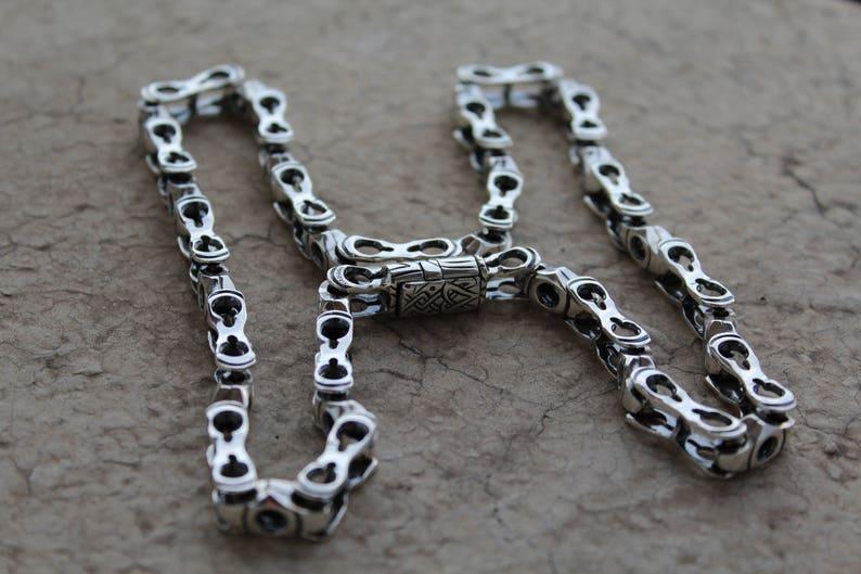 Solide En Ooak Bijoux De Argent Chaîne Conception Moto Chaine Collier Hommes Massive Sterling 925 Maillons Lourde La Des ulOTPkXZwi