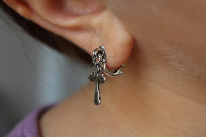 Kinetic Sterling Silver 925 Cross earrings,Dangle earrings,Unusual design,Modern earrings,Teen earrings,Cross jewelry,Handcrafted earrings