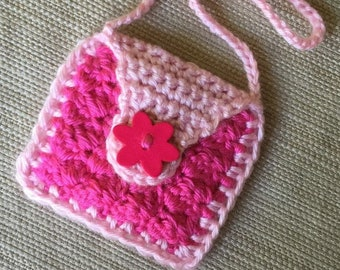Crochet Doll Purse, American Girl Doll Purse, 18 inch Doll Accessory, Handmade Doll Bag, Gift for Girl, Pink Doll Purse, Flower Button