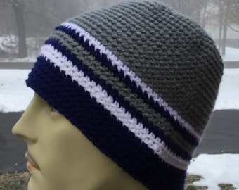 242dcda26f67ac Crochet men beanie, men's skull cap, football fan hat in team colors,  handmade beanie, slightly slouchy knit hat