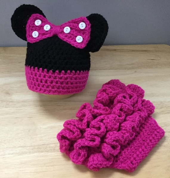 Minnie Mouse Hat Diaper Cover Crochet Ruffled Diaper Cover Etsy