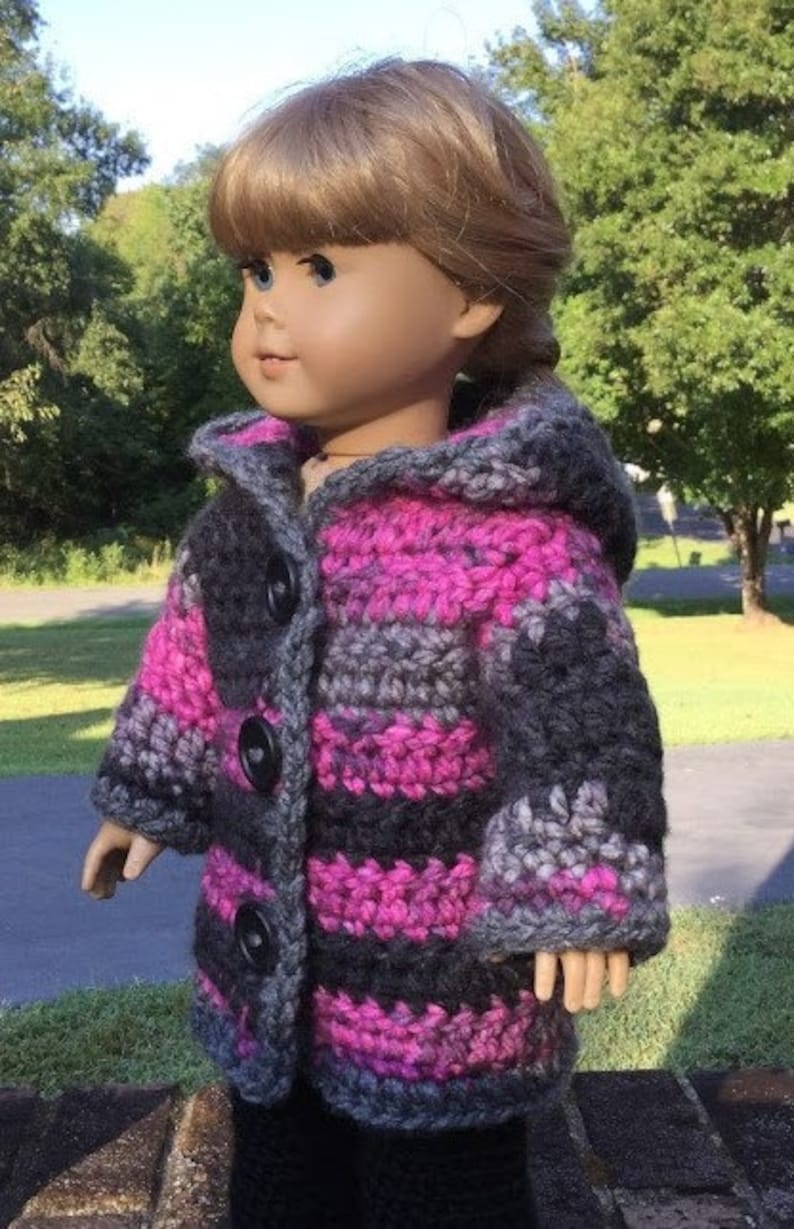 18 Doll Hoodie Crochet chunky sweater for 18 inch doll  ac57323bb