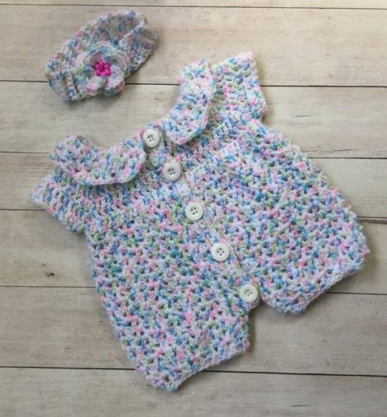 Baby Homecoming Outfit Headband /& Blanket Set Baby Shower Gift Newborn Afghan Crochet Baby Girl Romper Handmade Newborn Outfit