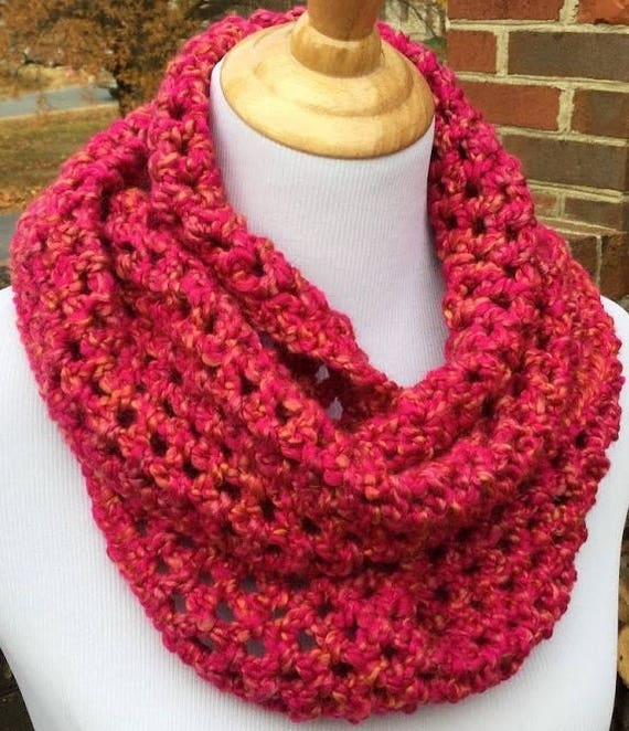 d49fd88e994aa9 Crochet Pink Infinity scarf Homespun yarn handmade scarf