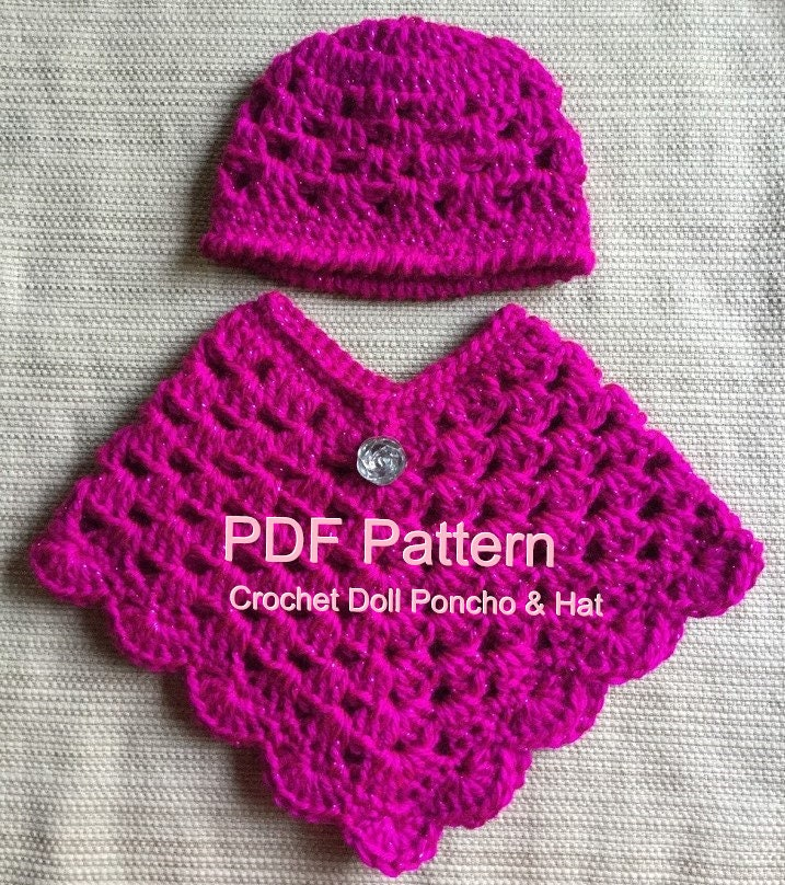 18 Doll Poncho And Hat Pattern Pdf Instant Download Etsy
