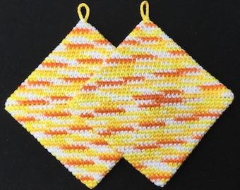 Crochet Pot Holders, Crochet Hot Pads, Thick Pot holders, Handmade, Bridal Shower, Housewarming gift, Kitchen Gift, Trivets, Yellow, Orange