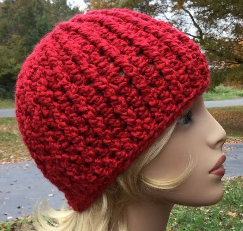 Bulky red crochet hat Beanie handmade made with homespun yarn in color candy apple