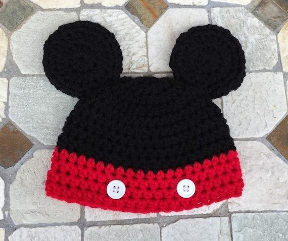 Mickey Mouse Hat Crochet Mickey Mouse Hat Handmade Mickey Etsy