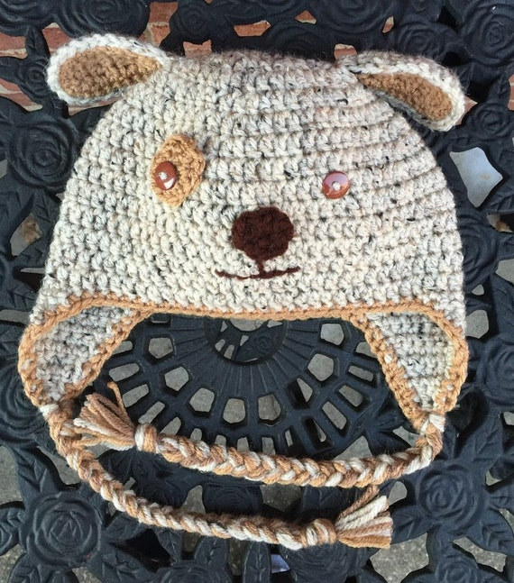 e24d574a657b8c Crochet Puppy Hat Brown Puppy Hat Character Hat Crochet | Etsy