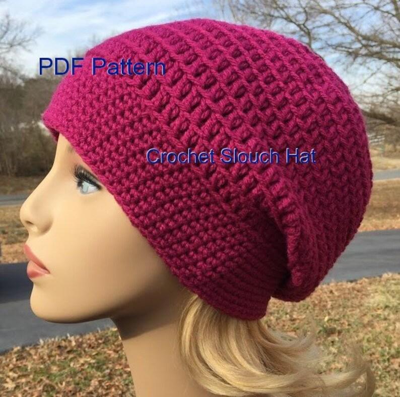 d6c48b186dd Crochet Slouch Hat Crochet PDF Pattern Slouchy Beanie