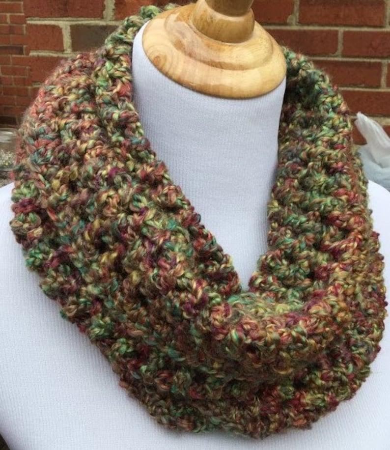 b44647f9d592ba Crochet Infinity Scarf Homespun yarn handmade scarf Chunky