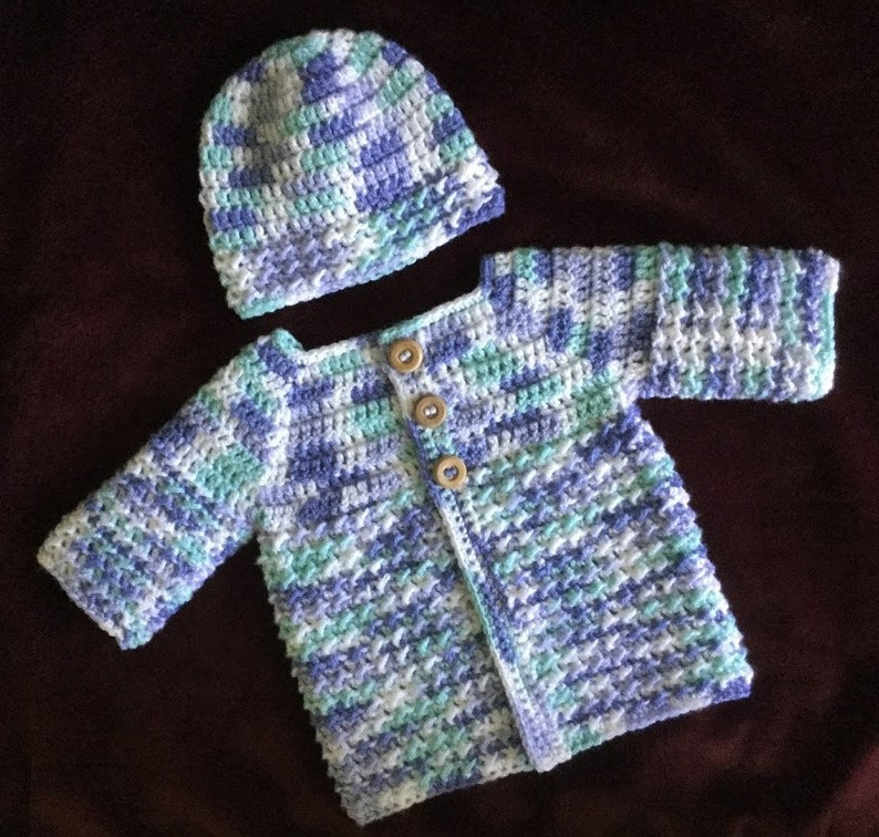 Handmade Infant Gift Homecoming Baby Outfit Blue Baby Sweater and Hat Crochet Baby Boy Sweater /& Hat Set Gift for Baby Baby Shower