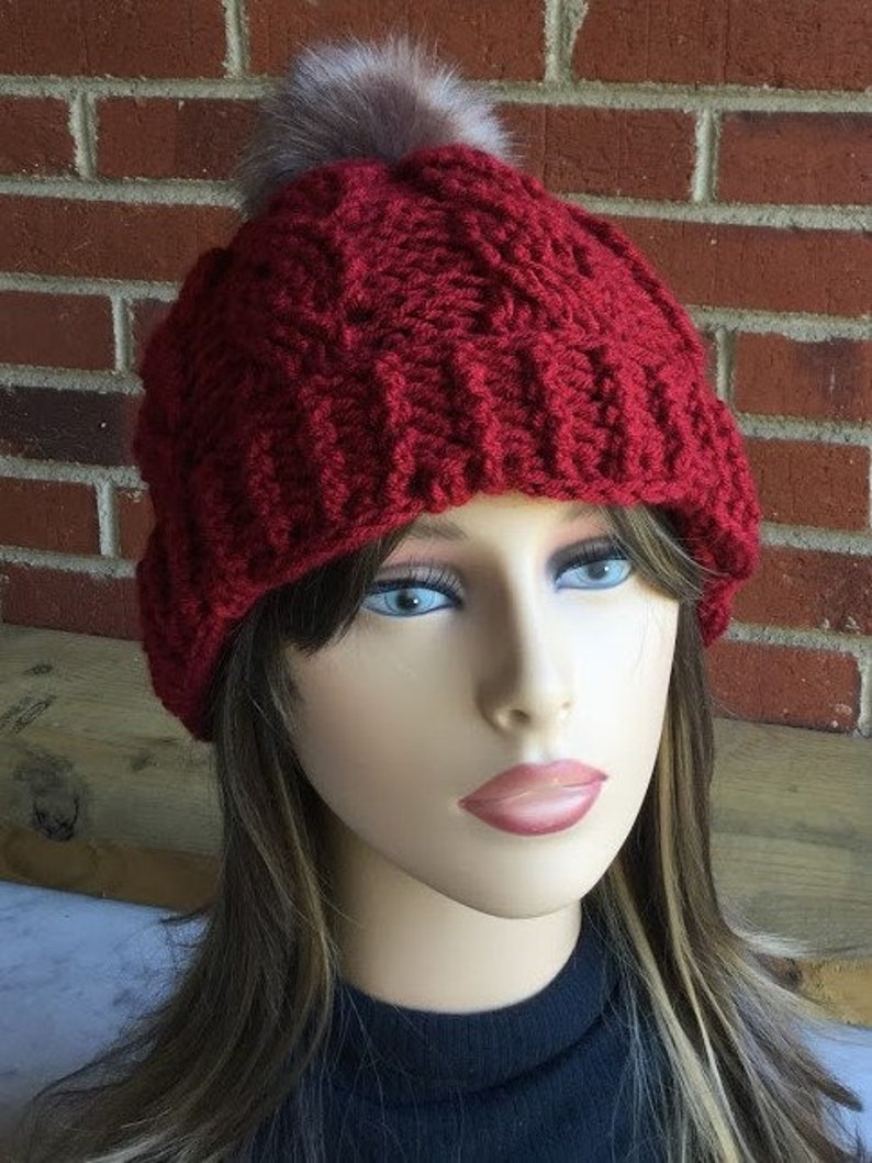 SLOUCHY WINTER HAT Crochet Faux Fur Pom Pom Beanie Handmade Pom Hat Detachable Pom Pom Winter Accessory Gift For Her