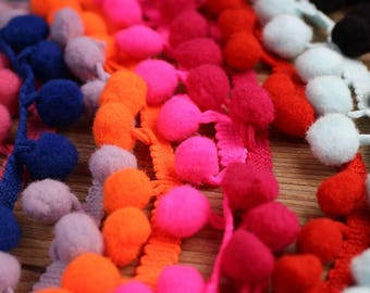 5yard Colorful Pom Pom Ball Ribbon Sew Lace Curtain Home Wedding Party Decor